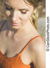 sea., minimalistic, earring., conchiglia, accessorio, trendy, estate, ragazza