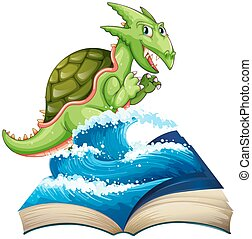Sea monster coming out of the book