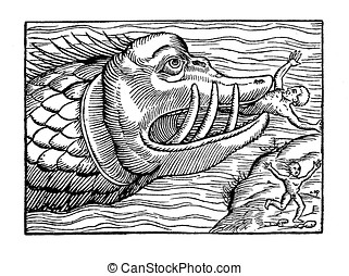 Sea monster eating human, medieval representation
