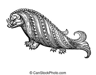 sea monster: hog whale, medieval illustration