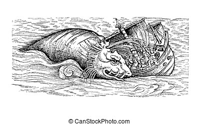 Sea monster, sputtering whale, medieval illustration