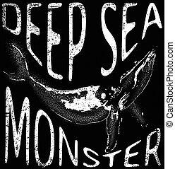 Sea monster tee graphic design