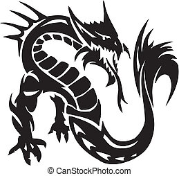 Sea Monster - vector illustration. Vinyl-ready. - Water...
