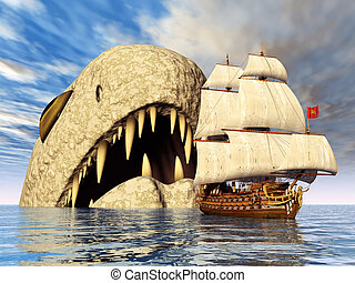 Sea Monster with Sailing Ship