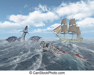 Sea monsters and sailing ship