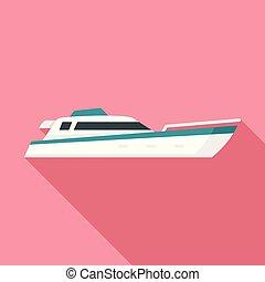 Sea motor ship icon, flat style