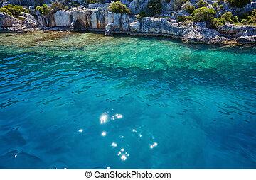 Sea, near ruins of the ancient city on the Kekova island