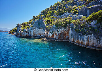 Sea, near ruins of the ancient city on the Kekova island