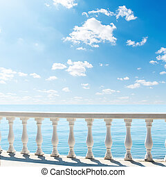sea., nuvens, sobre, terraço, vista, sacada