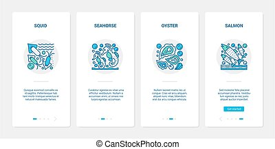 Sea ocean fish shellfish, underwater sealife UX, UI onboarding mobile app page screen set