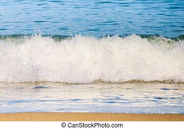 Sea Ocean Waves Splash Background on Sandy Beach. White foam.