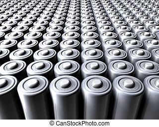 Sea of Batteries - 3D illustration.