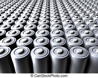 Sea of Batteries - 3D illustration.