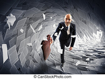 Sea of bureaucracy - Man runs away from a paperwork wave