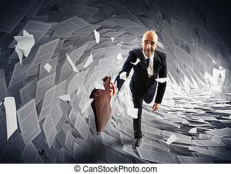 Sea of bureaucracy - Man runs away from a paperwork wave