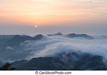 sea of clouds in sunrise
