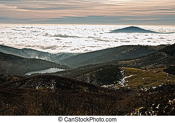 Sea of clouds on the valley