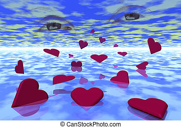 Sea of Hearts - Three-D rendering of hearts floating in a...