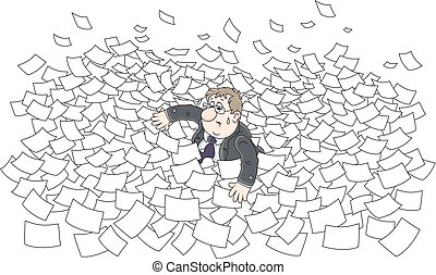 Sea of paper - Vector illustration of a clerk swimming among...