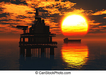 Sea Oil Platform and Tanker in the Sunset 3D render