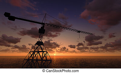 Sea Oil Platform in the Sunset 3D