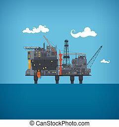 Sea oil platform - Offshore oil platform in the blue ocean....