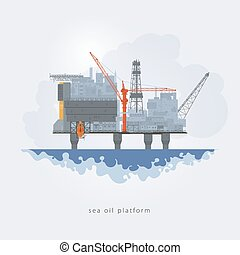 Offshore oil platform. Helipad, cranes, derrick, hull column , lifeboat , workshop, manifold, gas lift module, vector illustration