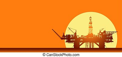 Sea oil rig. Offshore oil drilling platform in the sea over yellow sun. Crude oil extraction and refining. Vector industrial landscape.