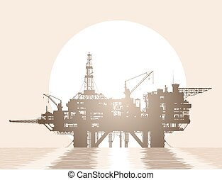 Sea oil rig. Oil platform in the deep sea over rising sun. Detailed vector illustration.