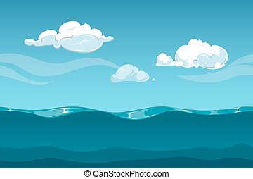 Sea or ocean cartoon landscape with sky and clouds. Seamless water waves background for computer game design