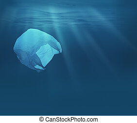 Sea or ocean underwater with plastic bag. Environment...