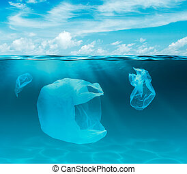 Sea or ocean underwater with plastic bags. Environment...