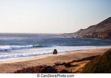 Sea Otter Beach, Carmel-By-The-Sea, California, tilt shift...