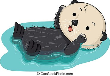 Sea Otter Water Float - Illustration of a Cute Sea Otter...