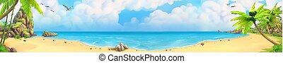 Sea panorama. Bay, tropical beach. Vector background