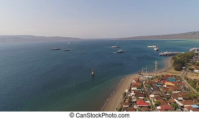 Sea passenger ferry port Gilimanuk. Bali Indonesia. - Aerial...