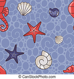 sea pattern - seamless vector pattern with seahorse and ...