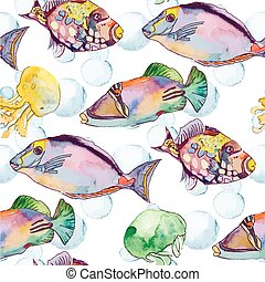 Sea pattern. Tropical fish. jellyfish. Ocean vector.