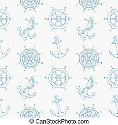 Sea pattern with steering ship wheel and anchor