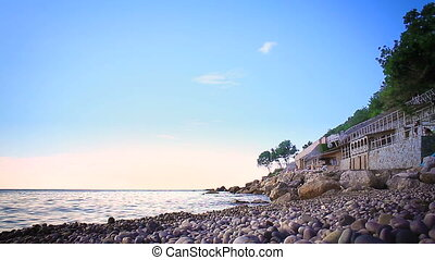 sea pebble beach in Crimea HD