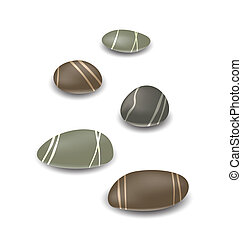 Sea pebbles collection with shadows on white background -...