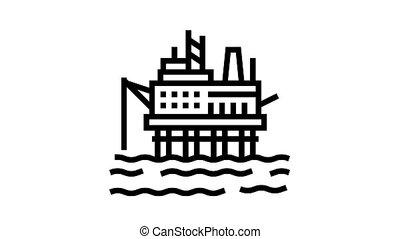 sea petrol rig animated black icon. sea petrol rig sign. isolated on white background