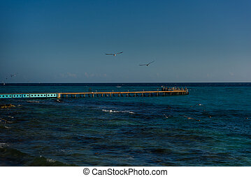 Sea pier on the island of Mujeres.