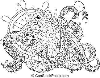 Sea pirate Octopus - Black and white vector illustration of...