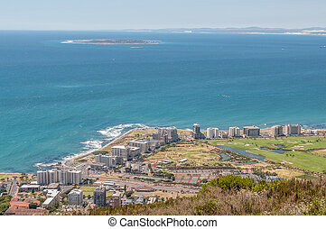 Sea Point and Robben Island as seen from Signal Hill in Cape...