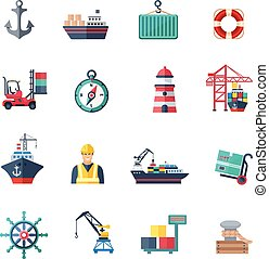 Sea Port Icons Set - Sea port icons flat set with marine...