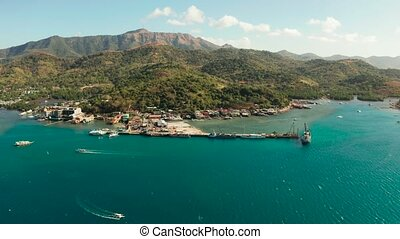 Sea port on the island of Busuanga, Philippines,Coron -...