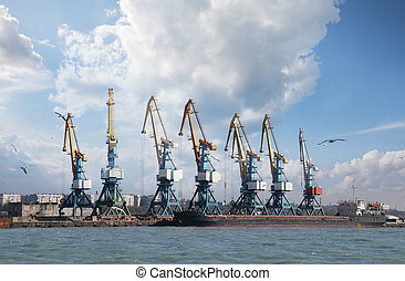 Sea port with cranes and docks