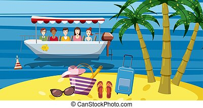 Sea rest boat ride banner vertical, cartoon style - Sea rest...