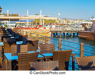 Sea restaurant Paphos port Cyprus
